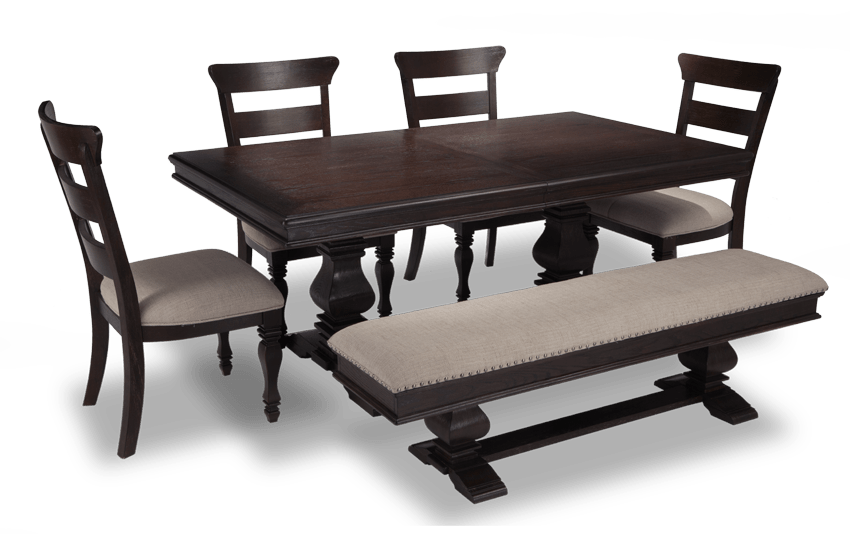 Riverdale 6 Piece Dining Set with Storage Bench & Wood Side Chairs